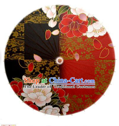 Asian China Dance Umbrella Handmade Classical Printing Flowers Red Oil-paper Umbrellas Stage Performance Umbrella