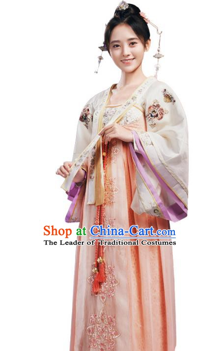 Traditional Chinese Ancient Tang Dynasty Imperial Princess Embroidered Costume and Headpiece Complete Set