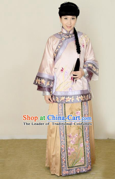 Traditional Chinese Ancient Qing Dynasty Embroidered Xiuhe Suit Young Mistress Costume