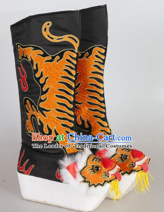 Chinese Beijing Opera Emperor Black Embroidered Boots, China Peking Opera Takefu Embroidery Tiger Shoes