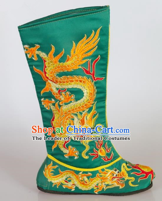 Chinese Beijing Opera Emperor Green Embroidered Boots, China Peking Opera Takefu Embroidery Dragons Shoes