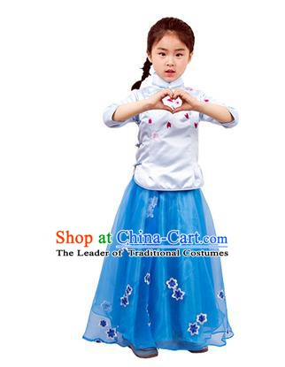 Traditional Chinese Ancient Republic of China Nobility Lady Costume Embroidered Blue Blouse and Skirt for Kids
