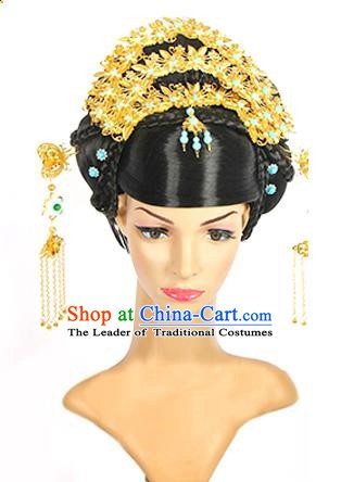 Traditional Chinese Ancient Palace Princess Hair Accessories Phoenix Coronet Hairpins and Wig for Women