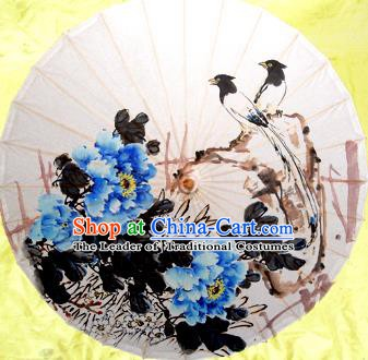 Handmade China Traditional Dance Umbrella Classical Painting Blue Peony Flowers Oil-paper Umbrella Stage Performance Props Umbrellas