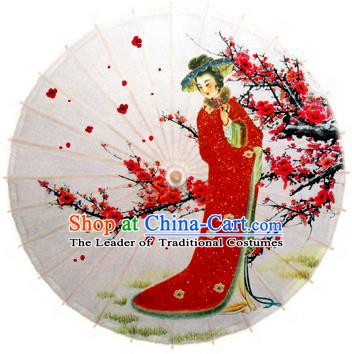 Handmade China Traditional Folk Dance Umbrella Painting Plum Blossom Beauty Oil-paper Umbrella Stage Performance Props Umbrellas