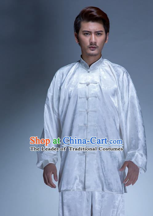 Top Grade Chinese Kung Fu Costume, China Martial Arts Tai Ji Training White Uniform Gongfu Shaolin Wushu Clothing for Men