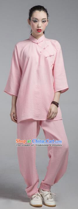 Top Grade Chinese Kung Fu Costume China Martial Arts Training Pink Uniform Tai Ji Wushu Clothing for Women