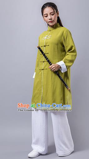 Top Grade Chinese Kung Fu Green Costume China Martial Arts Training Uniform Tai Ji Wushu Clothing for Women