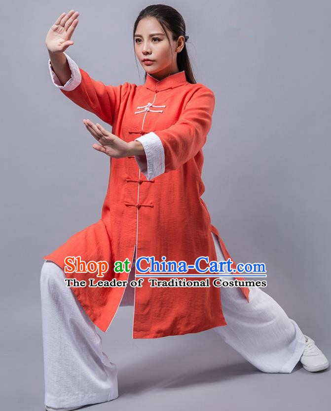 Top Grade Chinese Kung Fu Orange Costume China Martial Arts Training Uniform Tai Ji Wushu Clothing for Women