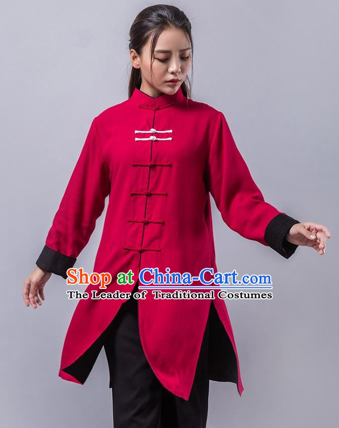 Top Grade Chinese Kung Fu Red Costume China Martial Arts Training Uniform Tai Ji Wushu Clothing for Women