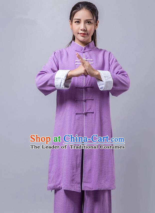 Top Grade Chinese Kung Fu Purple Costume China Martial Arts Training Uniform Tai Ji Wushu Clothing for Women