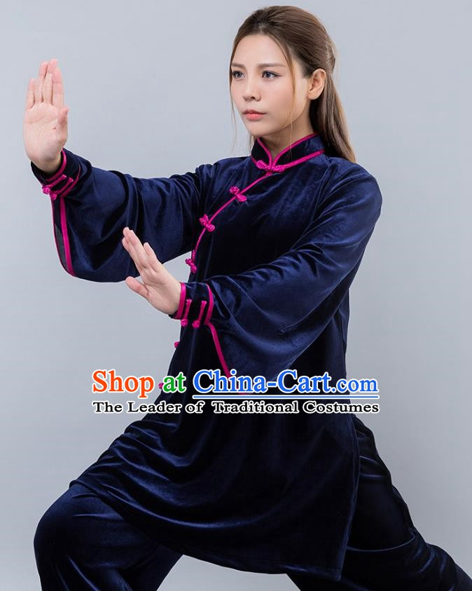 Top Grade Chinese Kung Fu Deep Blue Velvet Costume China Martial Arts Training Uniform Tai Ji Wushu Clothing for Women