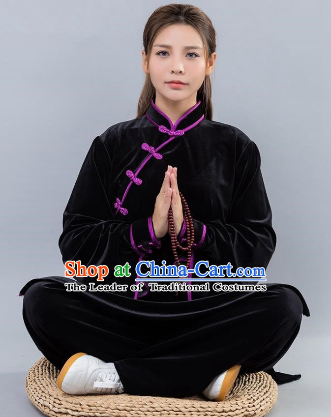 Top Grade Chinese Kung Fu Black Velvet Costume China Martial Arts Training Uniform Tai Ji Wushu Clothing for Women