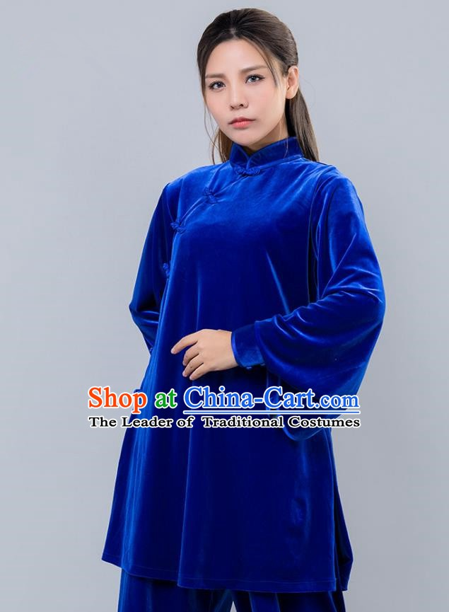 Top Grade Chinese Kung Fu Blue Velvet Costume China Martial Arts Training Uniform Tai Ji Wushu Clothing for Women