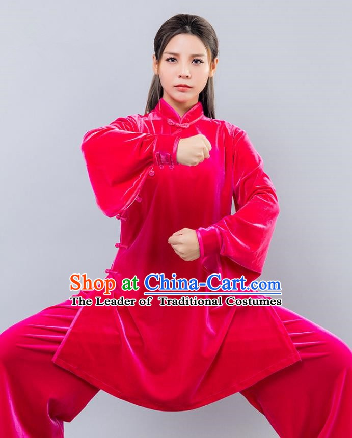 Top Grade Chinese Kung Fu Pink Velvet Costume China Martial Arts Training Uniform Tai Ji Wushu Clothing for Women