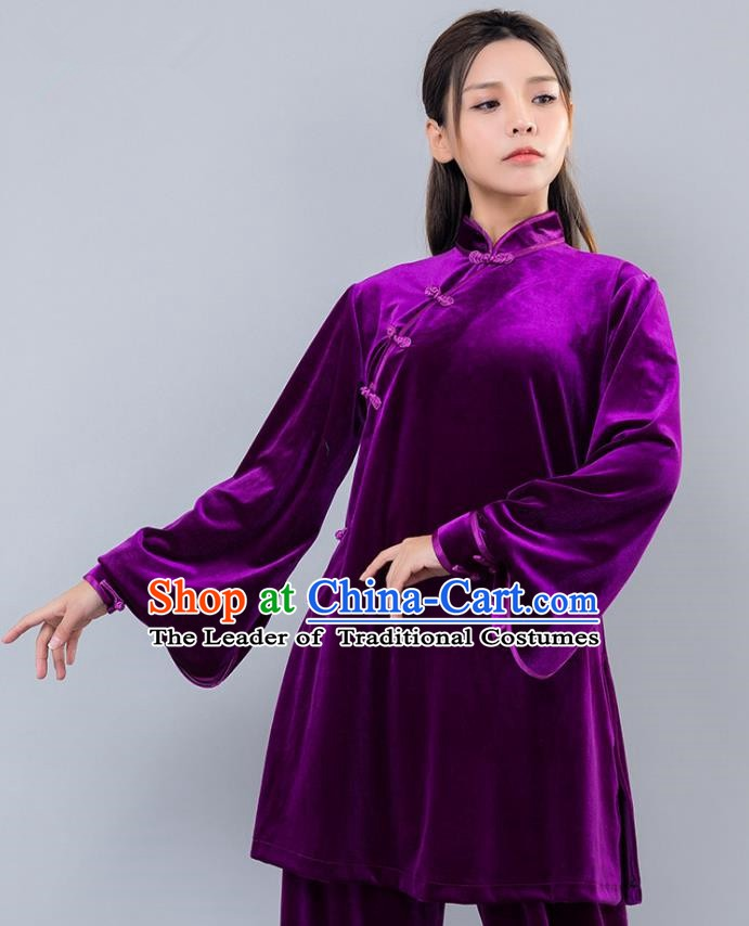 Top Grade Chinese Kung Fu Purple Velvet Costume China Martial Arts Training Uniform Tai Ji Wushu Clothing for Women