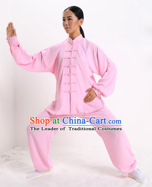 Top Grade Chinese Kung Fu Plated Buttons Costume, China Martial Arts Pink Uniform Tai Ji Wushu Clothing for Women