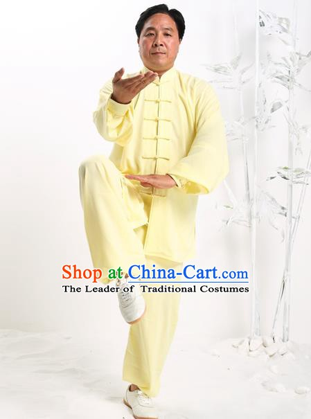 Top Grade Chinese Kung Fu Costume Tai Ji Training Yellow Uniform, China Martial Arts Gongfu Clothing for Men