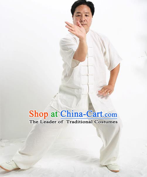 Top Grade Chinese Kung Fu Short Sleeve Costume Tai Ji Training Uniform, China Martial Arts Gongfu Clothing for Men