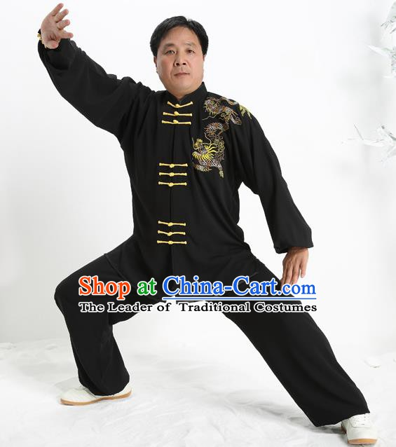 Top Grade Chinese Kung Fu Costume Tai Ji Training Uniform, China Martial Arts Gongfu Printing Dragon Clothing for Men