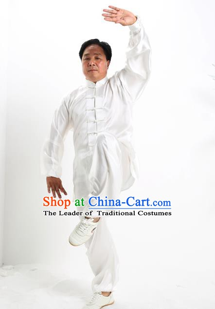 Top Grade Chinese Kung Fu Costume Tai Ji Training White Uniform, China Martial Arts Gongfu Clothing for Men