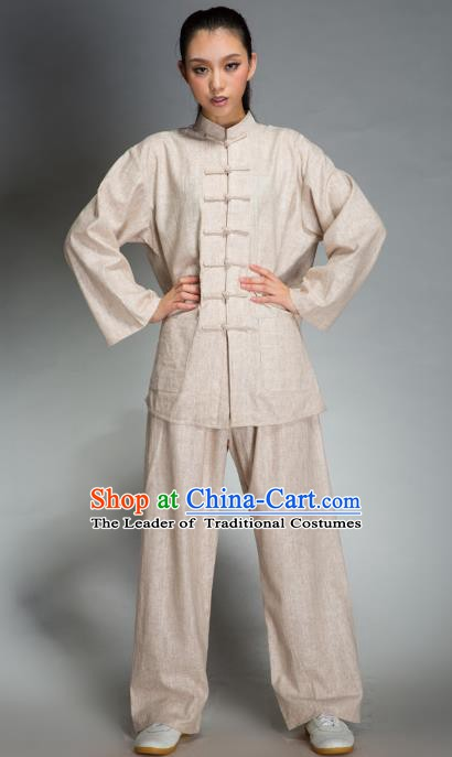 Top Grade Chinese Kung Fu Costume Tai Ji Training Beige Uniform, China Martial Arts Gongfu Clothing for Men