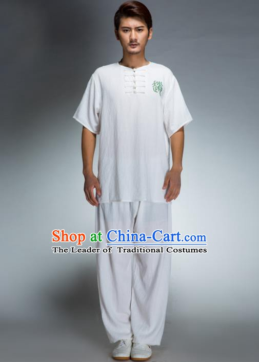 Top Grade Chinese Kung Fu Costume Tai Ji Training Linen Uniform, China Martial Arts Gongfu Clothing for Men