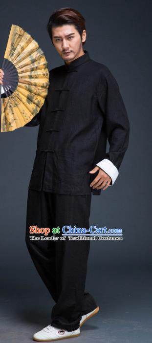 Top Grade Chinese Kung Fu Costume Tai Ji Training Black Uniform, China Martial Arts Gongfu Clothing for Men