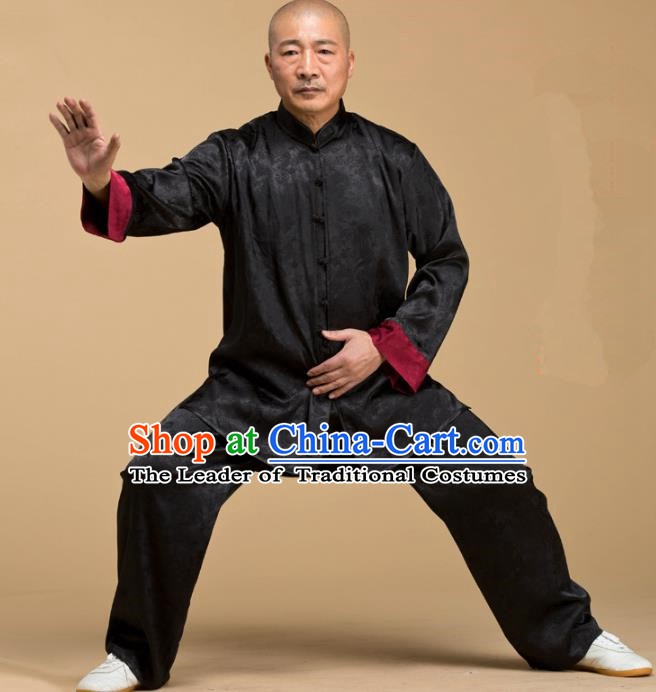 Top Grade Chinese Kung Fu Costume Tai Ji Training Uniform, China Martial Arts Gongfu Black Clothing for Men