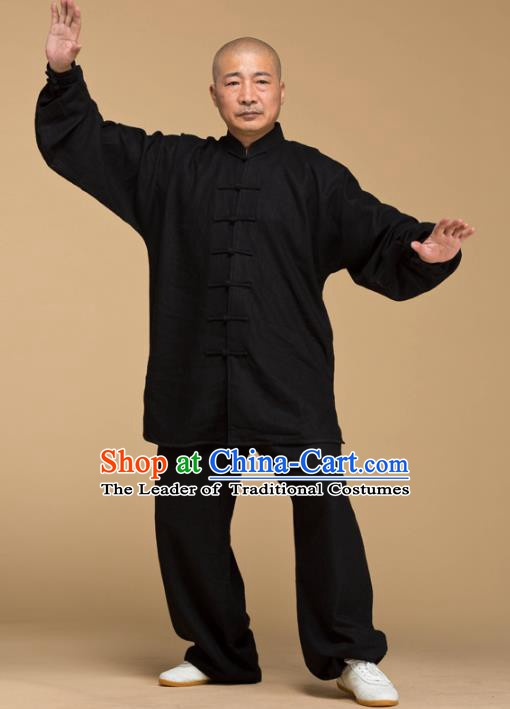 Top Grade Chinese Kung Fu Costume Tai Ji Training Black Linen Uniform, China Martial Arts Gongfu Clothing for Men