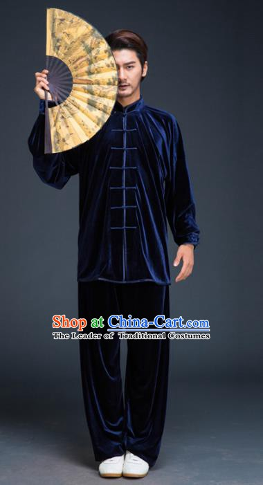 Top Grade Chinese Kung Fu Costume Tai Ji Training Blue Pleuche Uniform, China Martial Arts Gongfu Clothing for Men