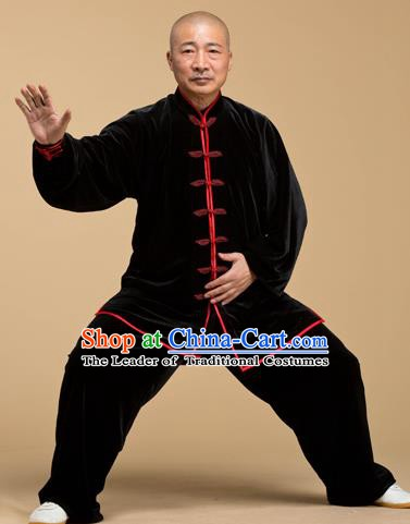Top Grade Chinese Kung Fu Costume Tai Ji Training Black Pleuche Uniform, China Martial Arts Gongfu Clothing for Men