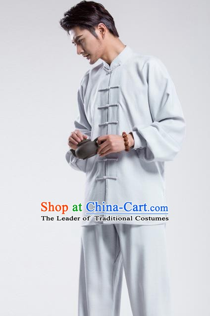 Top Grade Chinese Kung Fu Costume Tai Ji Training Light Blue Uniform, China Martial Arts Gongfu Clothing for Men