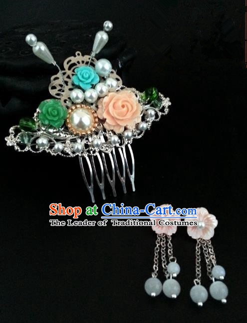 Traditional Handmade Chinese Ancient Classical Wedding Hair Accessories Hair Comb and Earrings for Women