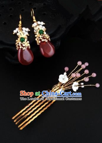 Traditional Handmade Chinese Ancient Classical Wedding Hair Accessories Hair Comb and Red Earrings for Women