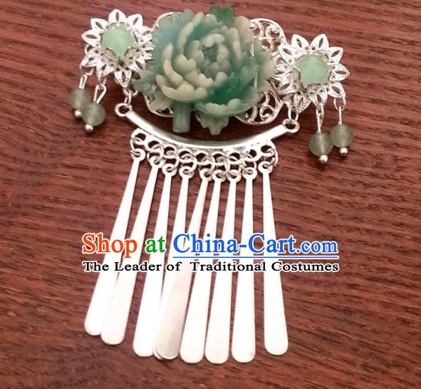 Traditional Handmade Chinese Ancient Classical Wedding Hair Accessories Green Flower Hairpins for Women