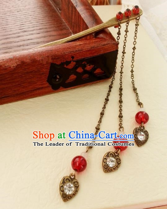 Traditional Chinese Handmade Classical Hair Accessories Red Step Shake Ancient Hanfu Tassel Hairpins for Women