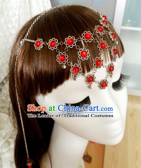 Handmade Traditional Chinese Classical Hair Accessories Red Frontlet Ancient Hanfu Hairpins Hair Fascinators for Women