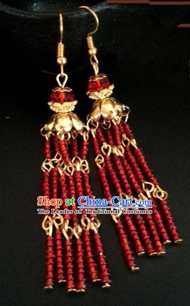 Asian Chinese Traditional Handmade Jewelry Accessories Princess Wedding Eardrop Hanfu Classical Earrings for Women