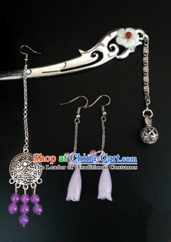 Handmade Traditional Chinese Classical Hair Accessories Ancient Bride Hanfu Hairpins and Earrings for Women