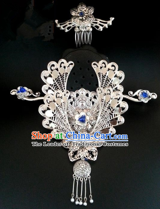 Handmade Traditional Chinese Classical Hair Accessories Ancient Bride Hanfu Phoenix Coronet Hairpins for Women