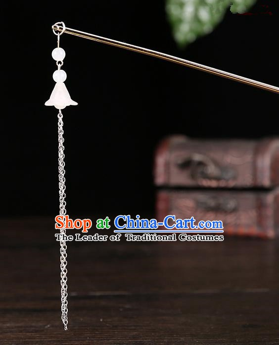 Handmade Asian Chinese Classical Hair Accessories Ancient White Tassel Step Shake Hairpins for Women