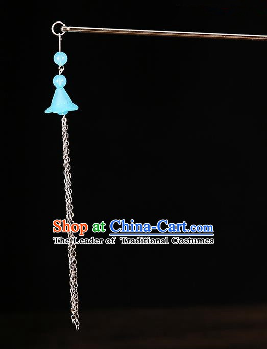 Handmade Asian Chinese Classical Hair Accessories Ancient Blue Tassel Step Shake Hairpins for Women