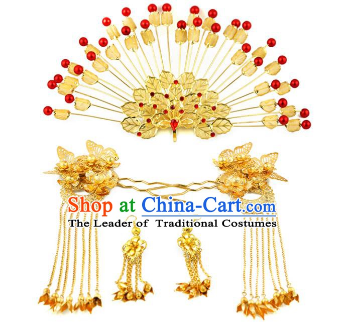 Asian Chinese Handmade Palace Lady Classical Hair Accessories Golden Phoenix Coronet Hairpins Headwear for Women