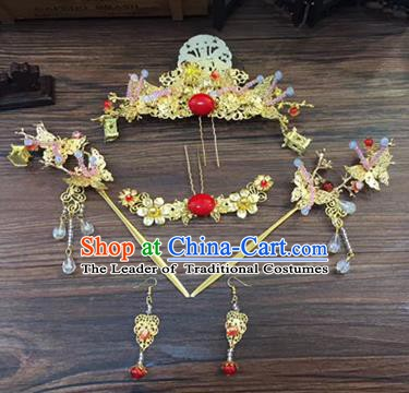 Asian Chinese Handmade Palace Lady Classical Hair Accessories Phoenix Coronet Hairpins Headwear Complete Set for Women