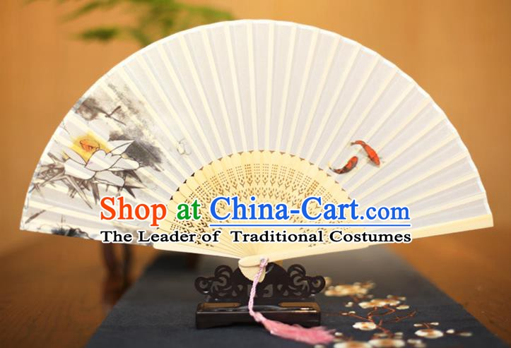 Traditional Chinese Crafts Printing Lotus White Folding Fan, China Sensu Paper Fans for Women
