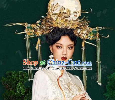 Asian Chinese Ancient Handmade Classical Hair Accessories Hairpins Headdress Exaggerated Phoenix Coronet Complete Set for Women