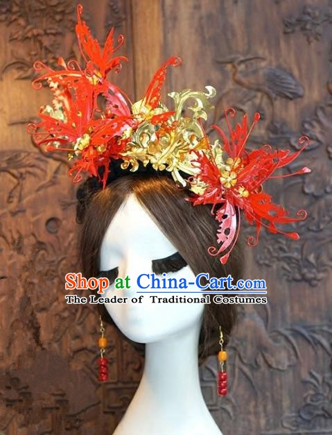 Chinese Handmade Classical Luxurious Hairpins Hair Accessories Ancient Red Butterfly Phoenix Coronet for Women