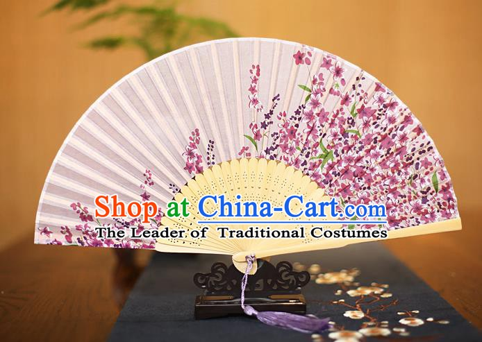 Traditional Chinese Crafts Printing Flowers Lilac Folding Fan, China Sensu Paper Fans for Women