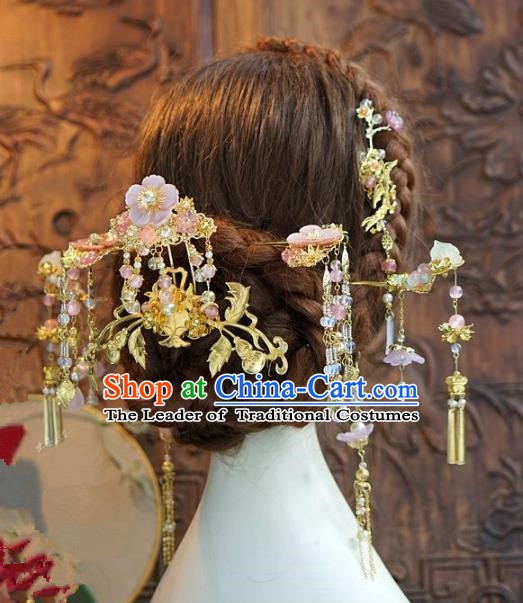 Chinese Ancient Handmade Classical Wedding Hair Accessories Xiuhe Suit Hairpins Complete Set for Women